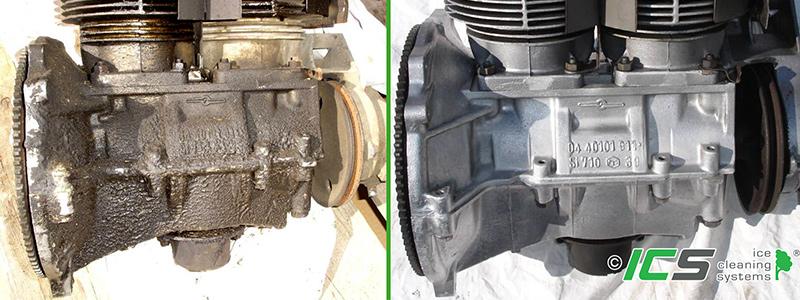 Trockeneisreinigung von Motor